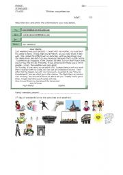 English Worksheets: written comprehension, letter past