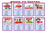 English Worksheet: game on tenses