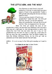 English Worksheets: The little girl and the wolf