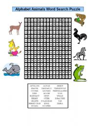 English Worksheets: animals word search