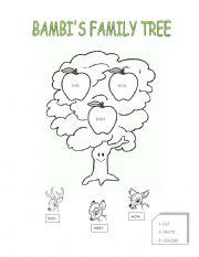 math worksheet : english worksheets bambi´s family tree : Family Worksheets For Kindergarten