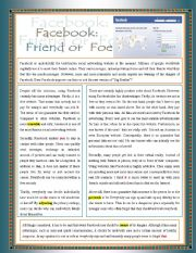 English Worksheet: Facebook - Friend or Foe ( multiple choice exercise + Explaining text-related terms+ answering questions + vocabulary matching + word references)