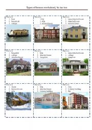 types of houses worksheet