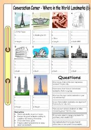 English Worksheet: Conversation Corner - Where in the World (6): Landmarks