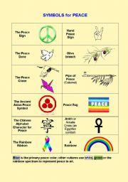 English Worksheets: Symbols for Peace