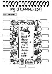 English Worksheet:  THERE IS/ARE + SOME/ ANY : MY SHOPPING LIST (2pgs.)