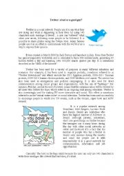 English Worksheet: Twitter: a good or a bad guy?