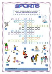 English Worksheet: SPORTS CROSSWORD, with hidden message