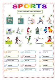 english worksheets sports matching. Black Bedroom Furniture Sets. Home Design Ideas