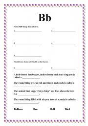 English worksheet: The Letter B