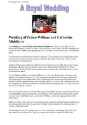 A reading activity based on the recent Royal wedding