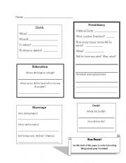 English Worksheets: President Report graphic Organizer