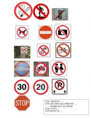 English Worksheet: PROHIBITION SIGNS