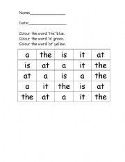 English Worksheets: 4 BASIC SIGHT WORDS EXERCISE
