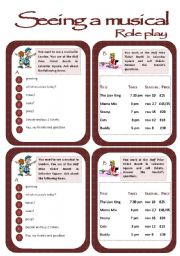 English Worksheet: Role play cards series: Buying tickets for a musical