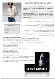 English Worksheet: LENNY KRAVITZ - Are you gonna go my way LISTENING Song activity (With Key!)