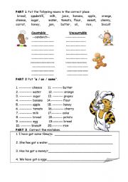 English Worksheets: countable uncountable