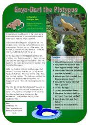 English Worksheets: Gaya-Dari: the Platypus
