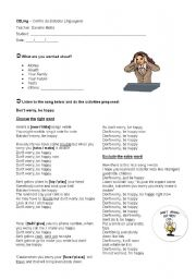 English Worksheet: Class about the song Don´t worry, Be happy