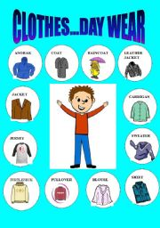 English worksheet: CLOTHES 2 ...DAY WEAR-PICTIONARY