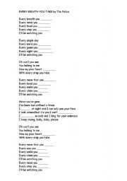 English Worksheets: EVERY BREATH YOU TAKE, by The Police