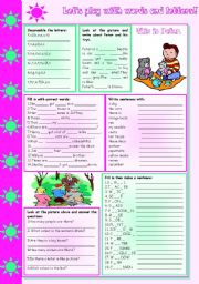 English Worksheets: Let�s play with words and letters!