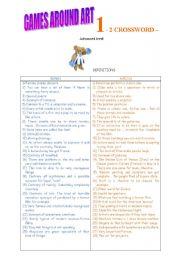 English Worksheets: crossword on art - advanced level.
