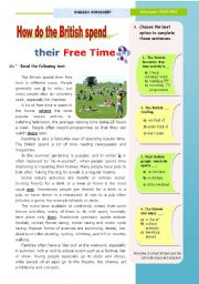 English Worksheets: How do the British spend their free time?  -  Reading