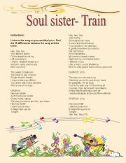 English Worksheet: Hey soul sister- correct the lyrics