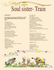 English Worksheets: Hey soul sister- correct the lyrics