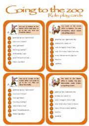 English Worksheets: Role play cards series: Going to the zoo