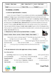 English Worksheet: mid term test n1 8th form