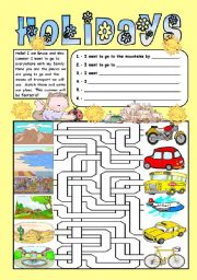 English Worksheets: Holidays - Colour, match and write - I want to go to the ___ by ___