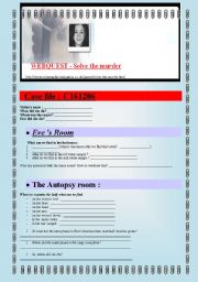 English Worksheets: WEBQUEST SOLVE THE MURDER (5 pages) + answer keys