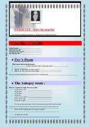 English Worksheets: WEBQUEST SOLVE THE MURDER (5 pages) + answer keys