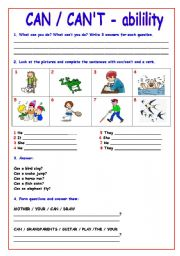 English Worksheets: CAN/CAN�T (ability) Exercises