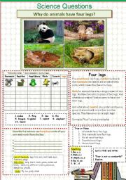English Worksheet: Why do animals have four legs? Science  17