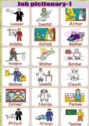 English Worksheets: Job-pictionary-1