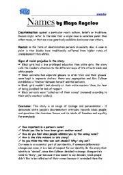 English Worksheet: Names by maya angelou
