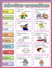 English Worksheet: Adjectives + prepositions