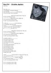 English Worksheets: SONG ACTIVITY: Christina Aguilera BEAUTIFUL