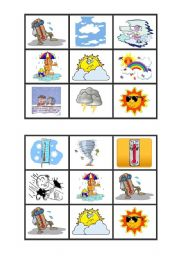 English Worksheet: weather bingo cards