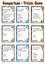 English Worksheets: Comparison - Trivia Game Cards