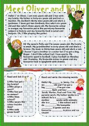 English Worksheets: meet Oliver and Polly