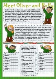 English Worksheets: meet Oliver and Polly 2