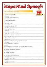 English worksheet: Reported Speech (with key)