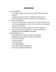 English Worksheets: What is Buddhism