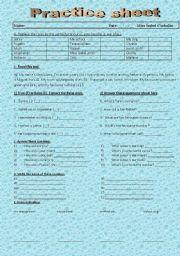English Worksheets: practice sheet