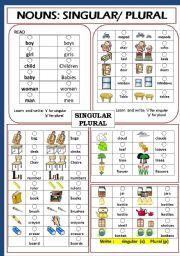 English Worksheet: NOUNS: SINGULAR / PLURAL
