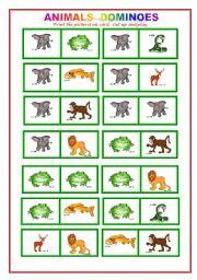 English Worksheet: ANIMAL Dominoes Game